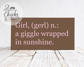 Girl Definition Wood Nursery Sign