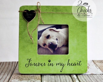 Pet Memory Picture Frame, Pet Picture Frame, Loss Of A Pet, Forever In My Heart Personalized Pet Frame