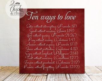Ten Ways To Love Sign