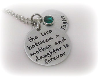 Mother Daughter Necklace Personalized Mom Jewelry Hand Stamped Quote and Name with Birthstone