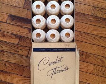 Vintage Coats & Clark Crochet Threads Clark's Big Ball Mercerized Boilfast 12 skeins x 200 yds