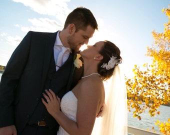E White Bridal Hair Clips, Bridal Fascinator , Lace Wedding Hair Piece, Wedding Accessories, Wedding Hair Accessories Ready to Ship