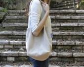 one of a kind corduroy shoulder bag. box bag. beige bag.