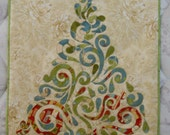 Quilted Christmas Tree Wall Hanging Swirls