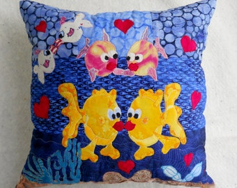 Fish Pillow Goldfish Pillow Kissing Fish Pillow Love Pillow Valentine Gift Pillows for Kids  Aquarium Pillow Water Scene Applique Quilted