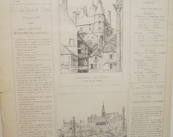 Antique Page in French - Croquis D Architecture -Dated 1873 - Monthly Publication