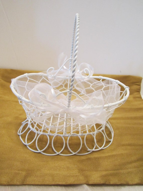 Flower Girl Basket - White Chicken Wire Style Basket - Dressed Up and Wedding Ready - Ready to Ship