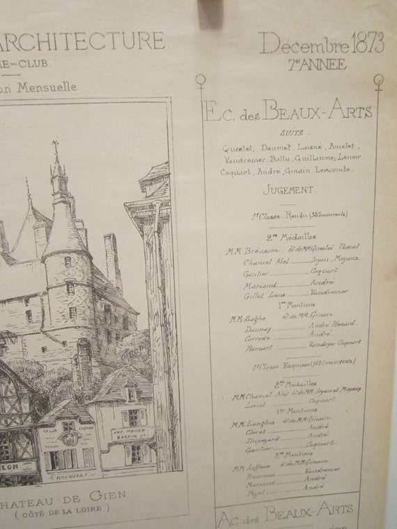 Antique Paper in French - Croquis D Architecture -Dated 1873 - Monthly Publication - Collectible Paper Epherema