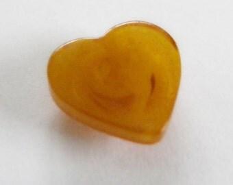 Small Bakelite Heart Button Butterscotch Swirl