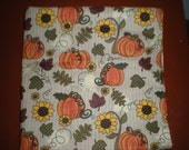 Sunflowers and pumpkins Thanksgiving, Holiday all cotton fabric in vibrant colors of yellow, orange, browns and greens