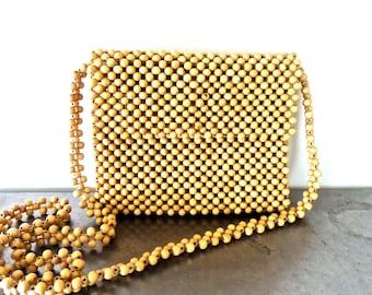 SALE vintage wood bead purse - 1960s-70s beaded cross body purse