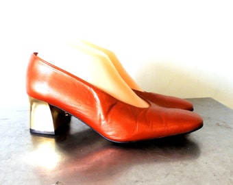 SALE vintage gold block heels - 1970s J. Renee caramel leather/gold disco shoes size 8.5
