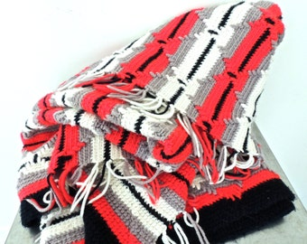 vintage fringed aztec blanket - 1960s mid century black/grey/red crocheted fringed afghan throw