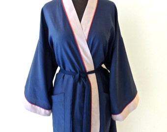 vintage Christian Dior robe - 1960s navy/red/tan cotton men's robe