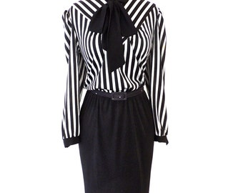 SALE vintage tie-neck dress - 1960s-70s Jones Girl black striped silky dress