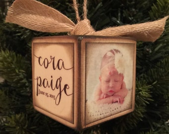 Personalized Baby's First Christmas Block Ornament - Brown Distressed