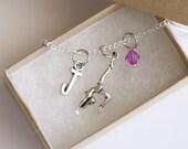 Gymnastics Necklace Silver, Personalized Initial Necklace, Birthstone Acrylic Color, Gymnastics Party, Sport Necklace