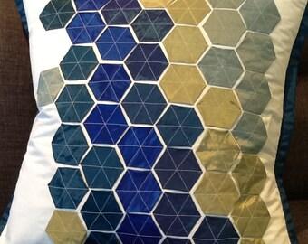 Decorative Hexagon Shapes Pillow Cover Sham Blue Royal Blue Green Hexies