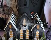 beetlejuice Inspired Halloween Paper Lightup House , putz house , creepy cute, Halloween, sandworm