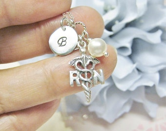 RN Necklace, Initial Necklace, Birthstone Necklace, Gift For Nurse, RN Jewelry, Pearl Jewelry, Personalized Initial