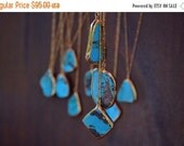 VALENTINES SALE AURIELLE Aqua /// Turquoise Chunk Necklace /// Electroformed 24kt Gold