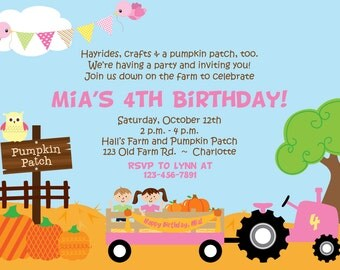 Pumpkin Patch Birthday Party Invitation Farm Birthday Invitation Pumpkin Farm Birthday Girls Fall Birthday Invitation