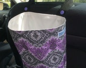 Reusable Hanging Car Trash Bag lavender gray damask