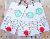 Christmas Gift Tags Reindeer Postage Stamp