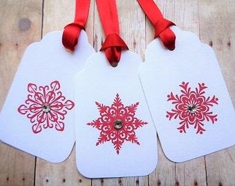 Red Christmas Snowflake Tags Scandinavian Holiday Minimalist Tag