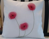"""Flower Pillow Cover White Linen Red Organza Poppies Shabby Chic 18 x 18"""""""