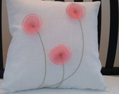 """Decorative Flower Pillow Cream Linen with Coral Poppies Shabby Chic 18 x 18"""""""