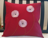Flower Pillow Cover Red Linen Decorative White Poppies Embroidered Stems 18 x 18
