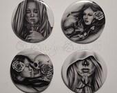 Skull Girls Praying Emo Goth Pins Buttons Badge