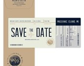 Boarding pass plane ticket save the date card, destination wedding; SAMPLE ONLY