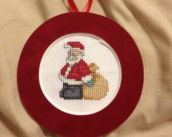 PERSONALIZED Santa Cross Stitch Ornament