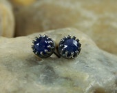 5mm Rose Cut Sapphires in Crown Bezels with Open Backs - Sterling Silver Post Earrings