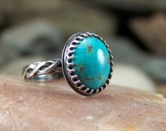 Turquoise 10x12mm Cabochon Ring in Sterling Silver with Crown Bezel and Braided Design Band