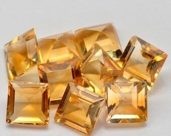 9 Pcs. Top Set Square Cut  Golden Yellow Citrine - Free shipping