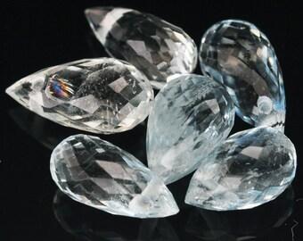 9 Piece Intense Natural Gemstone Briolette Drill Sky Blue Aquamarine - Free shipping