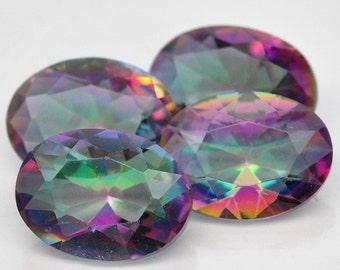 4 Piece 3.95 Ct. Splendid Natural Genuine Gemstone Oval Mystic Rainbow Quartz - Free shipping