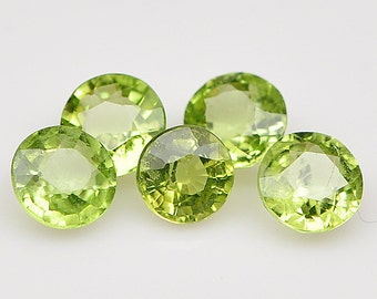 5 PIECE   Top Quality Natural Earth Mined Gemstone Round Green Peridot - Free shipping