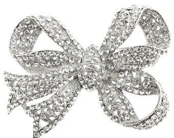 Silver Chrome Bow Knot Crystal Pin Brooch 1005231