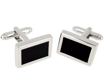 Black Enamel Square Cufflinks 1200514