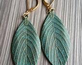 Leaf Drop Earrings Verdigris Leaves Antique Bronze jewelry Gift Christmas woodland jewelry Dangle earring leaf veins dangle drops
