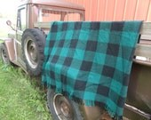 Vintage Buffalo Plaid Fringed Lap Blanket Green an Black