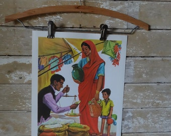 Vintage Retro Teaching Print 1964 India Famioly and Child