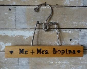 Vintage Wooden Engraved Pant Hanger Mr. & Mrs