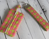READY TO SHIP - Key Fob and Zipper Pouch, Small Card Case, Coin Purse Green and Pink Houndstooth Set