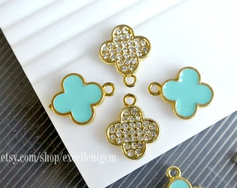 6-30 Clover charm Clover Pendant Gold plated with Rhinestone Charm in baby blue color for earring making Lead free Nickel free