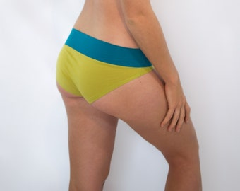 Wide band panty - Lime + Teal organic cotton